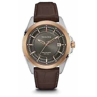 Bulova Mens Brown Strap Grey Dial Rose Gold Case 98B267 Watch