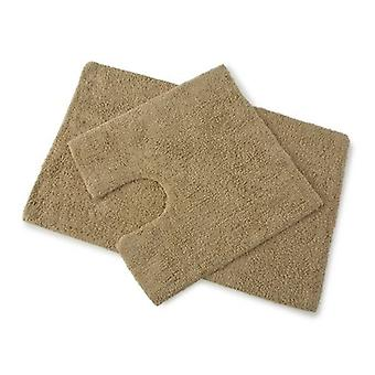 Premier Walnut Brown 100% Cotton Bath and Pedestal Mat Set