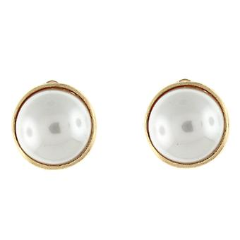 Clip On Earrings Store Gold  and  Ivory Pearl Round Button Clip On Earrings