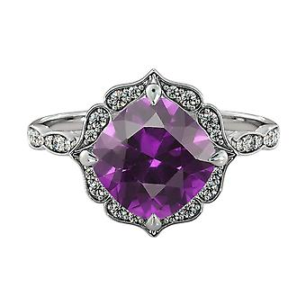 2.25 ctw Amethyst Ring with Diamonds 14K White Gold Flower Leaves Halo