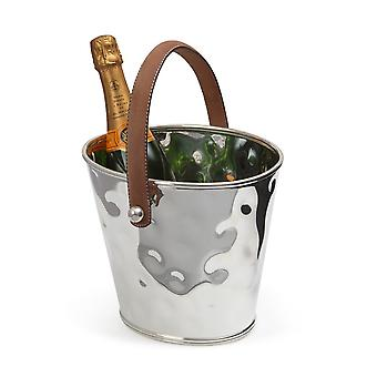 Culinary Concepts Silver Wine Cooler with Leather Handle