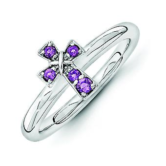 2.25mm Sterling Silver Stackable Expressions Rhodium Amethyst Cross Ring - Ring Size: 5 to 10