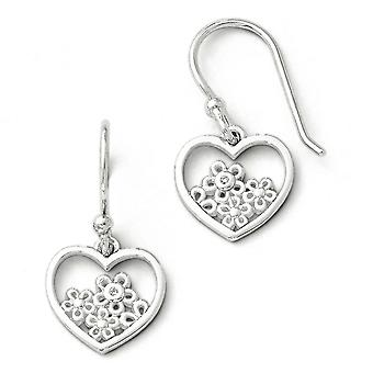 Sterling Silver White Ice Heart Shaped With Flower Shepherd Hook Earrings - .006 dwt 1.8 Grams