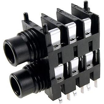 6.35 mm audio jack Socket, horizontal mount Number of pins: 3 Stereo Black Cliff FCR1117 1 pc(s)