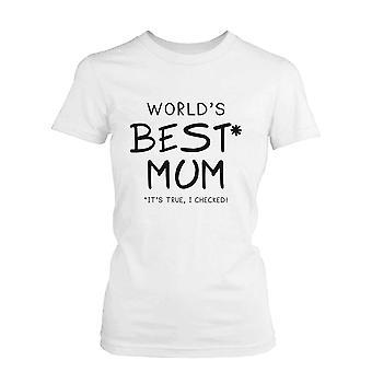 Mejor mamá algodón blanco gráfico t-shirt del mundo-Idea de regalo lindo día de la madre