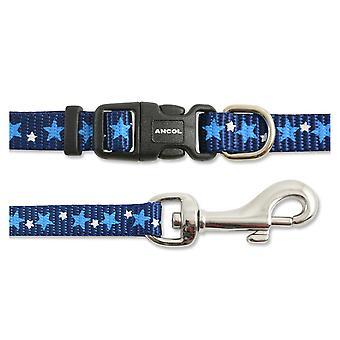 Small Bite Collar & Lead Set Stars Blue (Pack of 3)