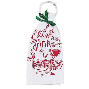 Eat Drink and Be Merry Krinkle Flour Sack Kitchen Dish Towel with Ring