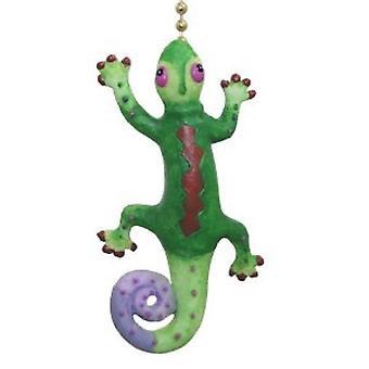 Gecko tropical verde y morado lagarto ventilador extracción suave