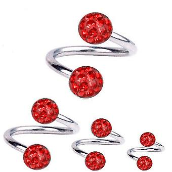 Spiral Twist Piercing Titanium 1,6 mm, Multi Crystal Ball Red | 8 - 12 mm