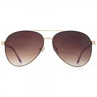 Glare Eyewear Cara Aviator Sunglasses In Shiny Gold