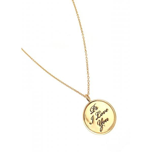 W.A.T Gold Plated 925 Sterling Silver 'Ps I Love You' Necklace By Kissika