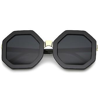 Retro Metal nese Bridge Octagon figur overdimensjonert solbriller 53mm