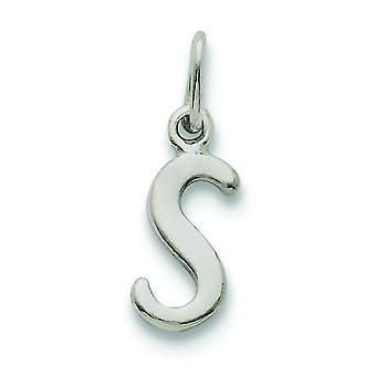 Argent sterling solide poli pendentif initiale S -.5 grammes