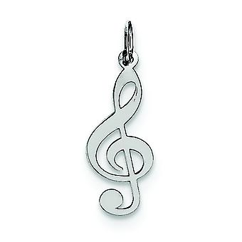 Sterling Silver Solid Polished Treble Clef Charm - .4 Grams