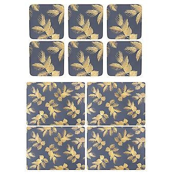 Sara Miller Etched Leaves Navy Placemats and Coasters Set