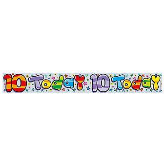 Expression Factory Childrens/Kids Holographic 10 Today Foil Birthday Banner