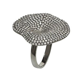 Alessandra Cocktail Ring Oxidised White CZ