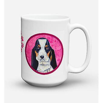 Basset Hound diskmaskin säkra mikrovågssäker keramisk kaffe Mugg 15 uns