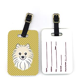 Carolines Treasures  BB1135BT Pair of Tan Checkered Pomeranian Luggage Tags