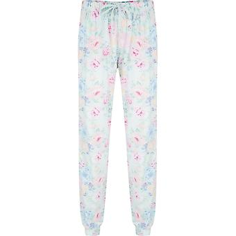 Pastunette 5071-326-8-503 Women's Pale Turquoise Blue Floral Print Cotton and Modal Pyjama Bottoms