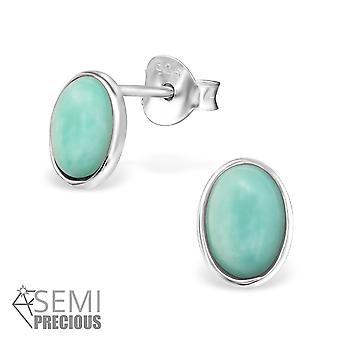 Oval - 925 Sterling Silver Opal And Semi Precious Ear Studs - W30303x