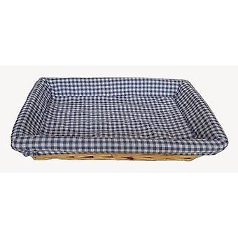Blu controllato foderato vassoio piatto rettangolare in vimini