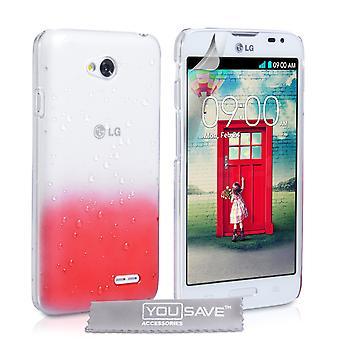 Yousave tillbehör LG L70 regndroppe hårt fodral - röd-Clear