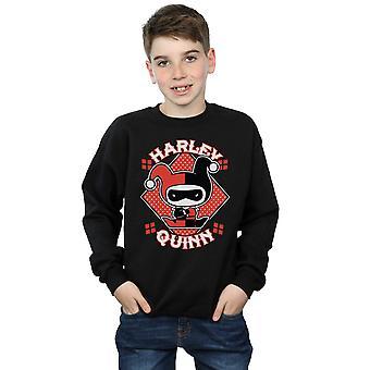 DC Comics Boys Chibi Harley Quinn Badge Sweatshirt