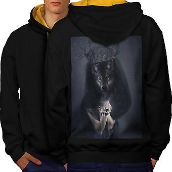 Wolf King Beast Animal Men Black (Gold Hood)Contrast Hoodie Back | Wellcoda