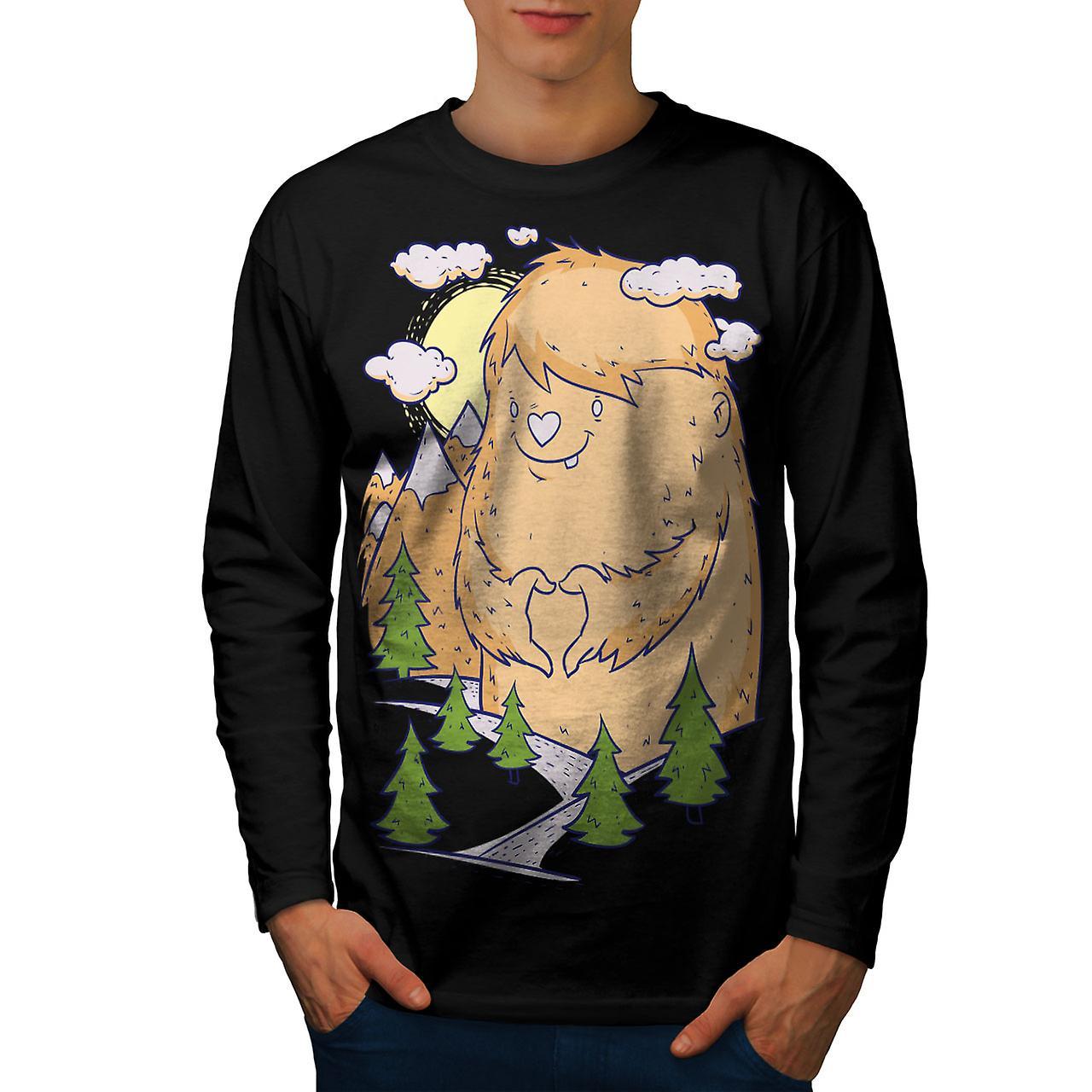 Cute Monster Hill Men BlackLong Sleeve T-shirt | Wellcoda