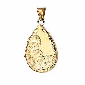 9ct Gold 28x19mm engraved flat tear drop Locket