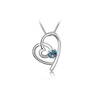 Sky Blue Womens Girls Silver Love Heart Jewellery Necklace BGCW51