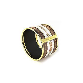 Legend Vogue - Vintage Zip brown white yellow gold Bangle Bracelet