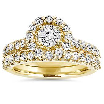 1 7/8ct Yellow & White Diamond Halo Engagement Ring Set 14K White Gold