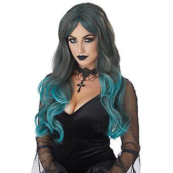 Farbe bluten gemischt Brünette Petrol / Gothic Hexe Vampir Punk-Damen Kostüm Perücke