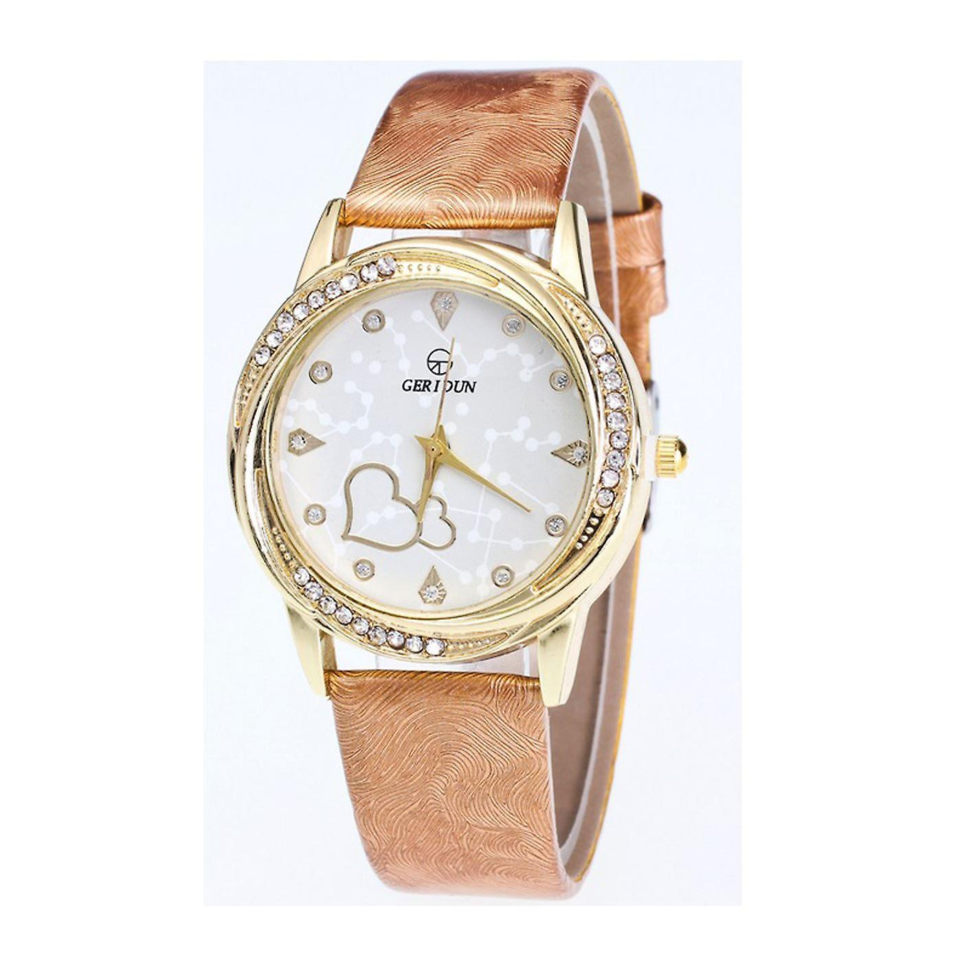 Classy Yellow Gold Heart Beige Watch Love Clear Time Elegant