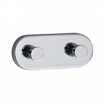 Loft Double Towel Hook With Back Plate - Polished Chrome LK357