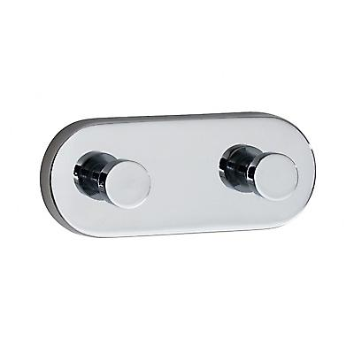 Loft Double Towel Hook With Back Plate - Polished Chrome LK357