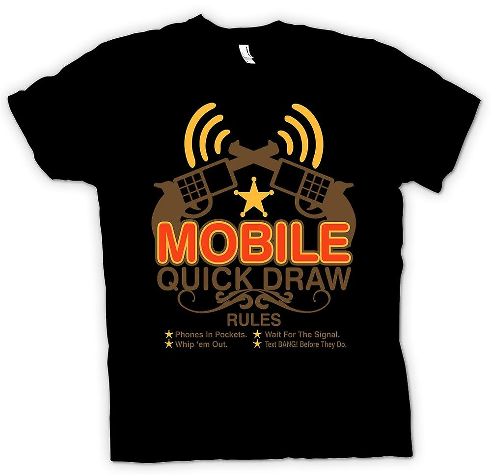 Mens T-shirt - Mobile Quick Draw Rules - Funny