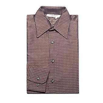 Yves Saint Laurent Men's Cotton Point Collar Dress Shirt Dot Brown