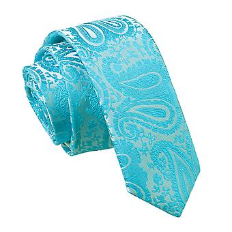 Schmaler Krawatte Türkis Paisley