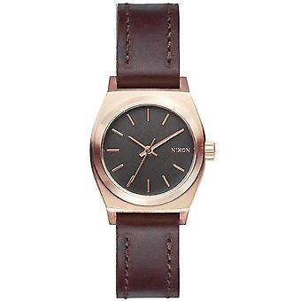 Nixon The Small Time Teller Leather Watch - Rose Gold/Grey/Brown