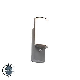 QAZQA Modern Outdoor Wall Lamp Dark Grey with Twilight Switch incl. LED - Harry