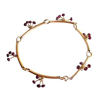 Gemshine - ladies - bracelet - gold plated - Ruby - Red