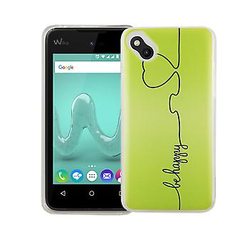 Mobile case for WIKO sunny cover case protective bag motif slim silicone TPU be happy Green