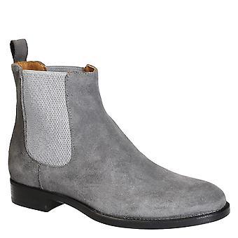 Mäns grå mocka chelsea boots tillverkade i Italien