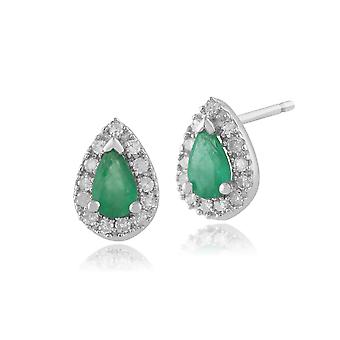 9ct White Gold 0.39ct Emerald & Diamond Pear Cluster Stud Earrings