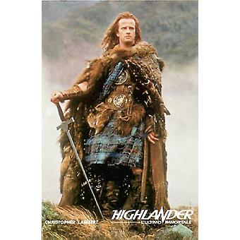 Highlander poster Christopher Lambert colour picture standing on hill (HF)