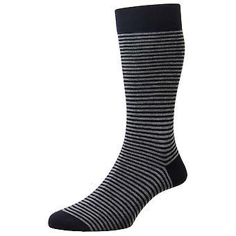 Pantherella Farringdon Classic Stripe Cotton Lisle Socks - Navy/Charcoal Grey