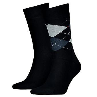 Tommy Hilfiger 2 Pack Check Sock - Dark Navy